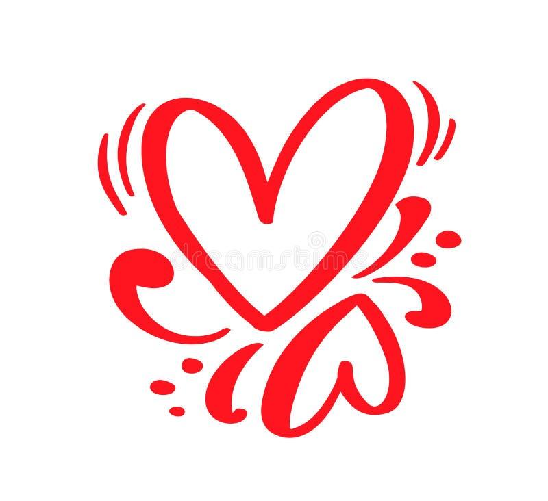 Couplez coeurs calligraphiques tirés par la main rouges de jour de valentines de vecteur les deux Valentine d'élément de concepti illustration stock