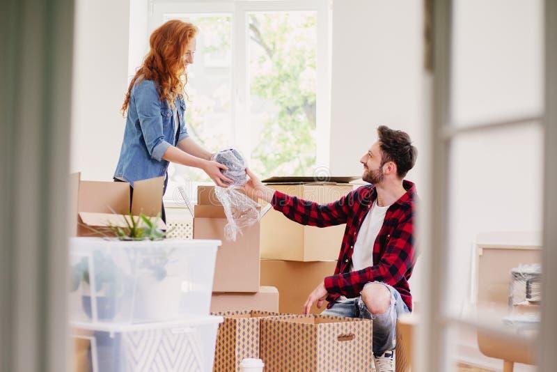 Couplez déballer la substance des boîtes de carton tout en fournissant l'intérieur photo stock