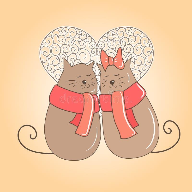 Couplez des chats une date illustration de vecteur