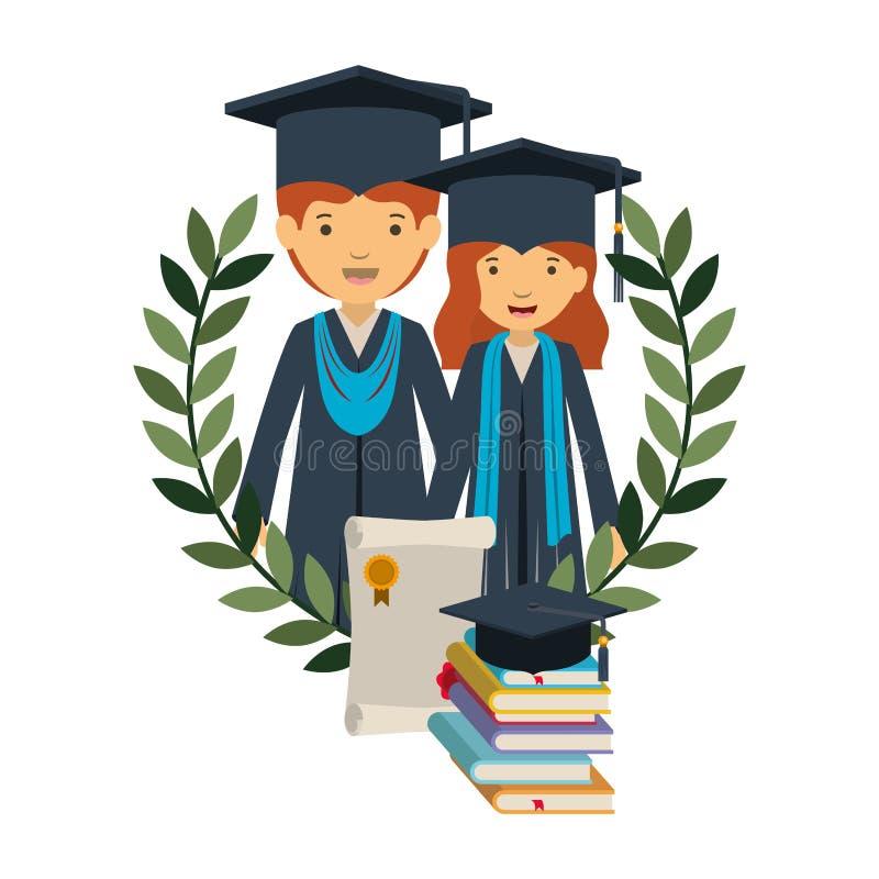 Couplez des diplômés avec le caractère d'avatar de certificat et de livres illustration de vecteur