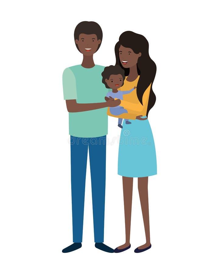 Couplez des parents avec le caract?re d'avatar de fils images stock