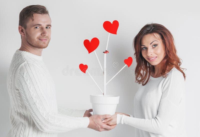 Couplez des personnes avec l'arbre de coeurs photographie stock libre de droits