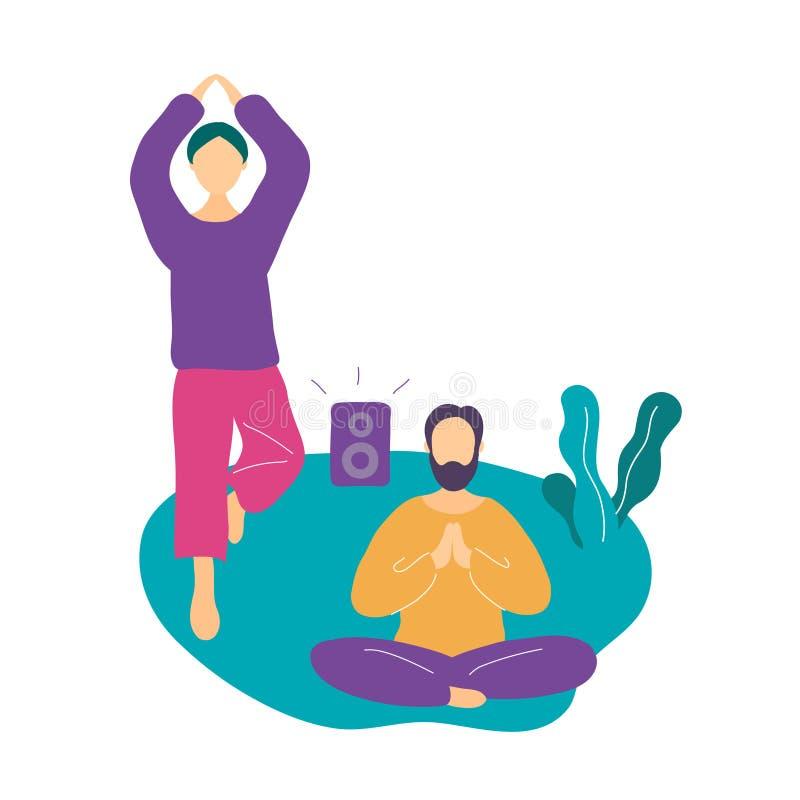 Couplez faire l'exercice de yoga et m?diter en parc illustration de vecteur