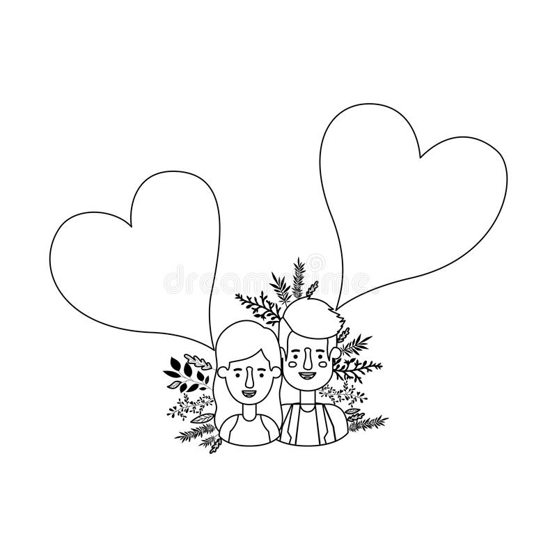 Couplez l'avatar avec des bulles de la parole de coeurs illustration de vecteur