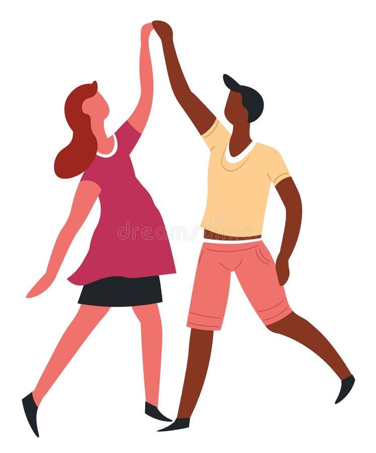 Couplez la danse la danse que romantique de date a isolé des caractères illustration libre de droits