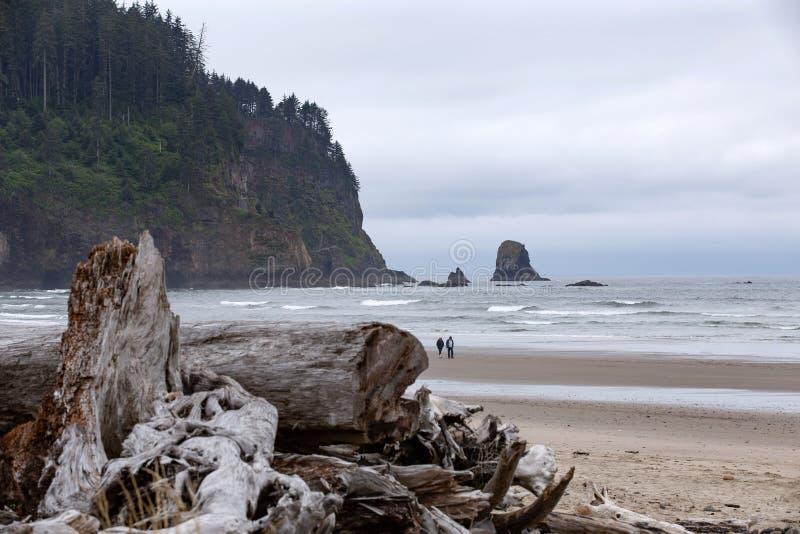Couplez la marche à travers la plage de l'océan pacifique de l'Orégon photographie stock libre de droits