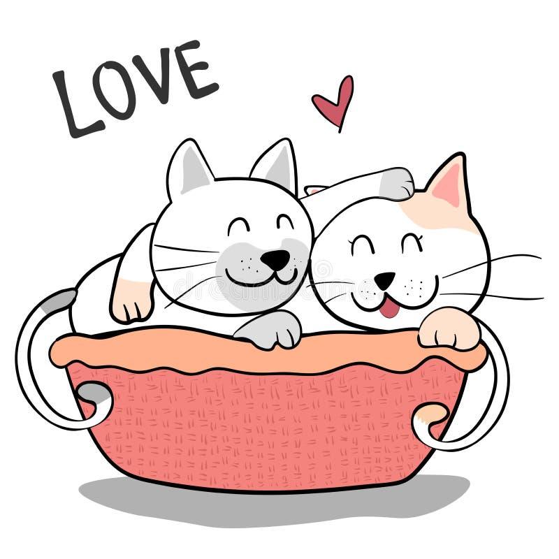 Couplez le chat d'amitié pour s'étreindre sur le fond rose illustration stock