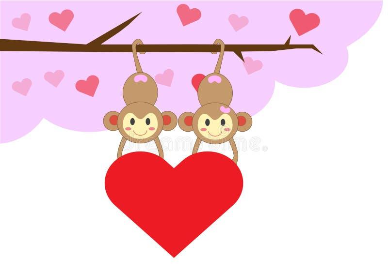 Couplez le singe tenant le coeur rouge sur l'arbre d'amour photos libres de droits