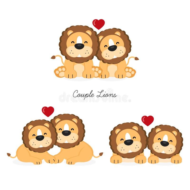 Couplez les lions avec la pose différente illustration de vecteur