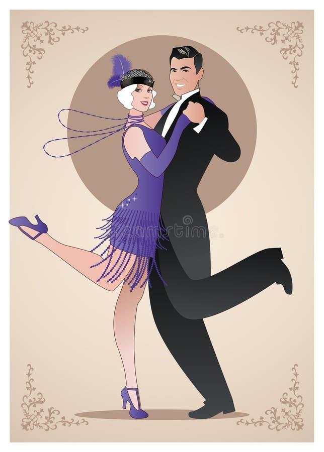 Couplez les vêtements de port dans le style des années '20 dansant Charleston illustration de vecteur