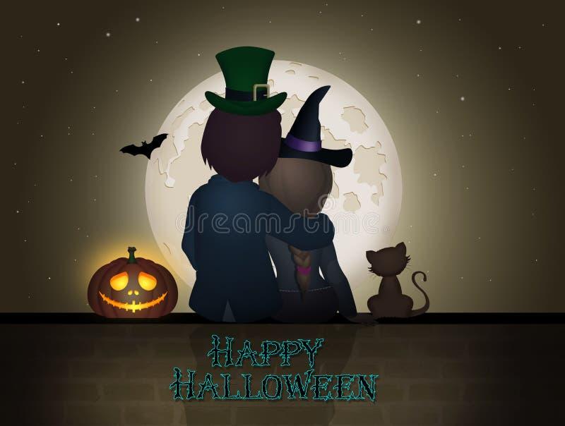 Couplez se reposer sur le mur pendant la nuit de Halloween illustration stock