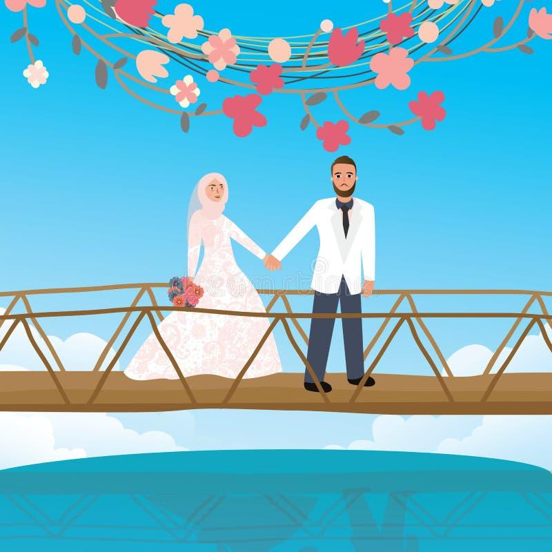 Couplez tenir la main dans le symbole islamique de port de voile d'écharpe de femme de pont illustration de vecteur