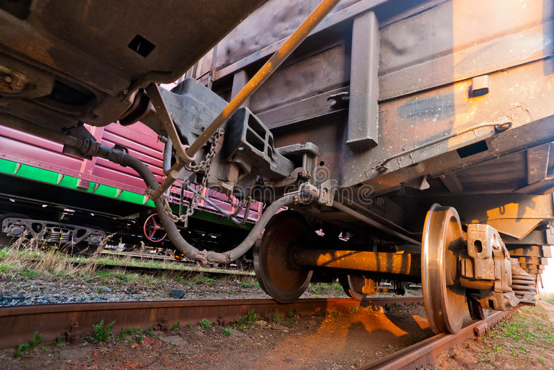 Coupling of wagons freight train close-up stock photos