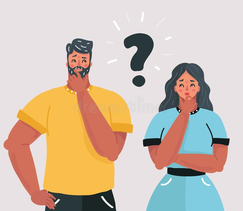 Couplwith znak zapytania przed ich twarzami royalty ilustracja