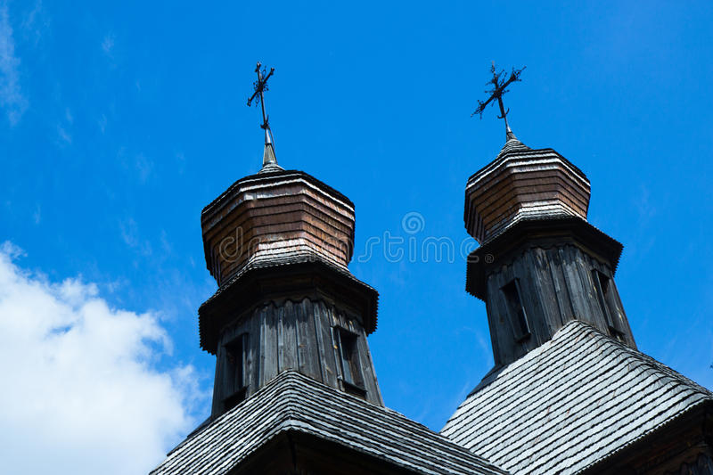 Coupolas of old wooden church stock photography