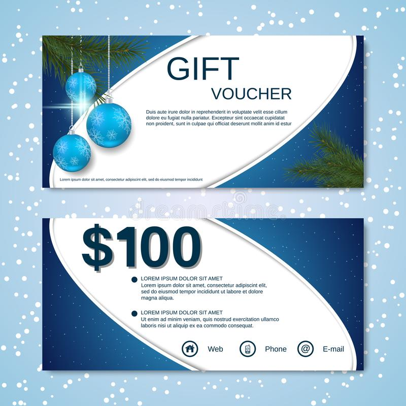 Christmas and New Year discount coupon, gift voucher vector template vector illustration