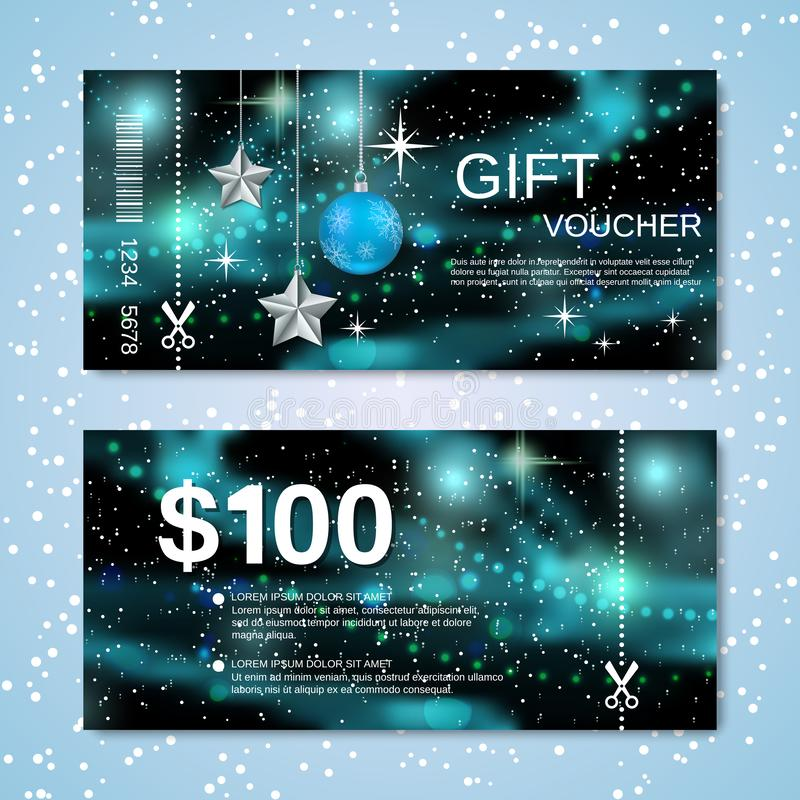 Christmas and New Year discount coupon vector template royalty free stock photography