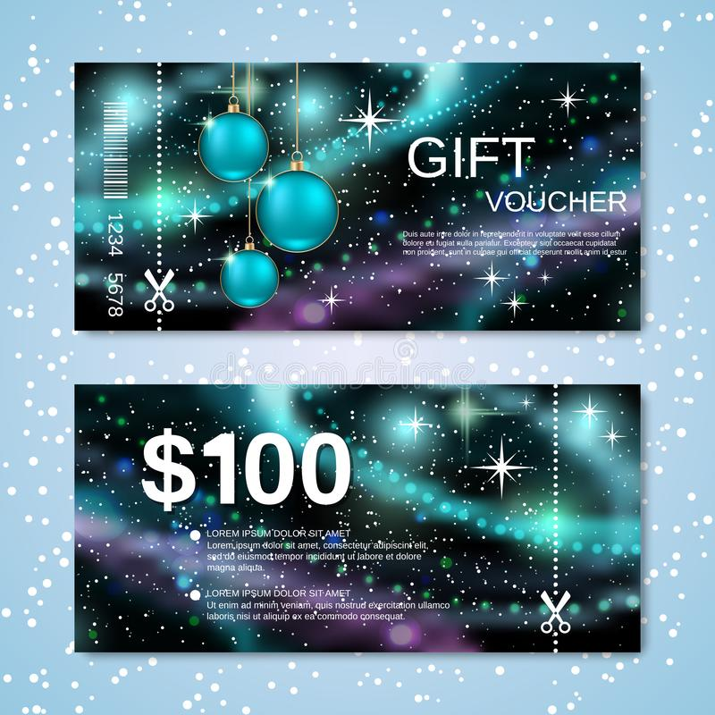 Christmas and New Year discount coupon vector template stock photos