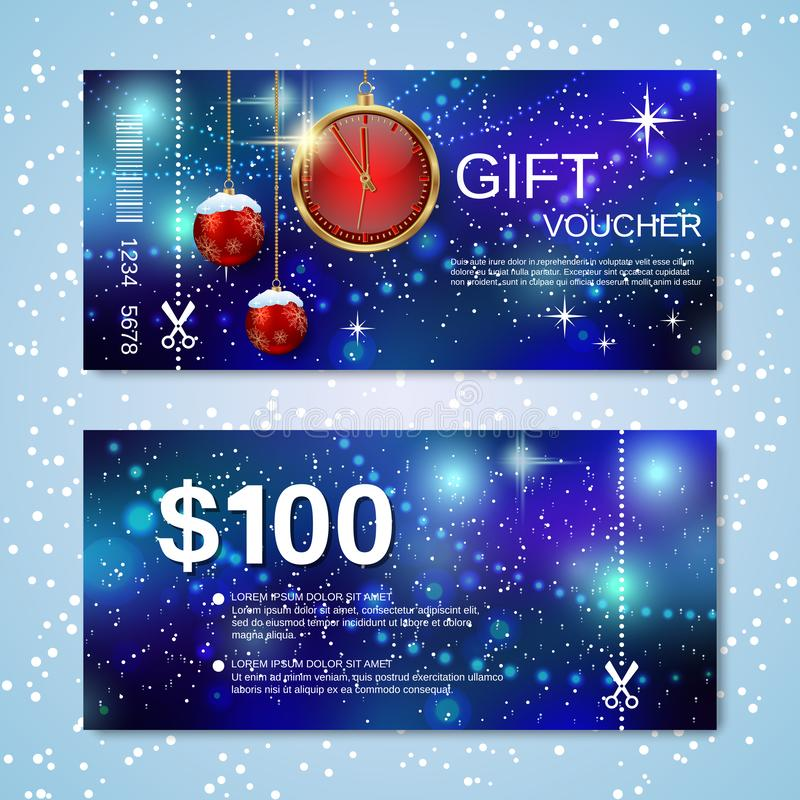 Christmas and New Year discount coupon vector template royalty free stock images