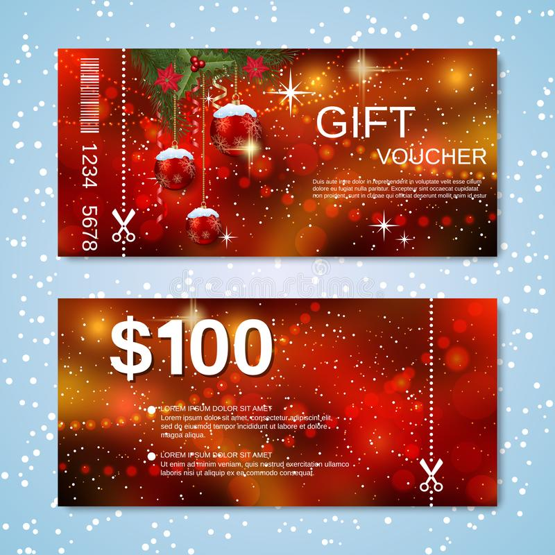 Christmas and New Year discount coupon vector template stock image