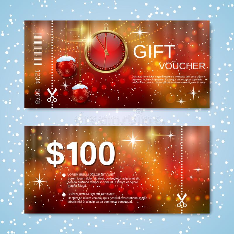 Christmas and New Year discount coupon vector template royalty free stock photos