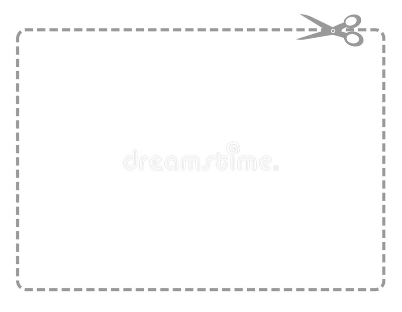 Coupon border. White rectangle with a black dotted line coupon border and scissors