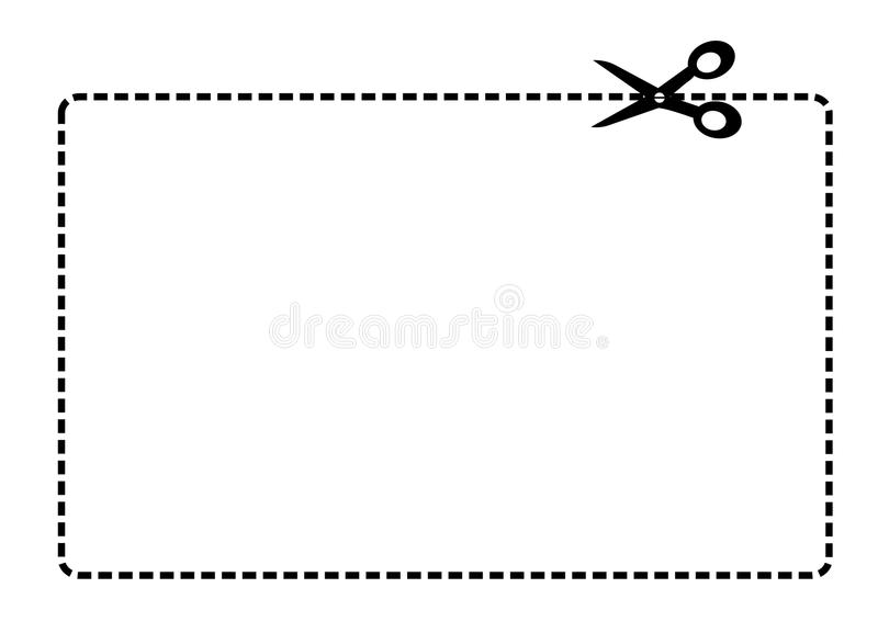 Coupon border vector. White rectangle with a black dotted line coupon border and scissors