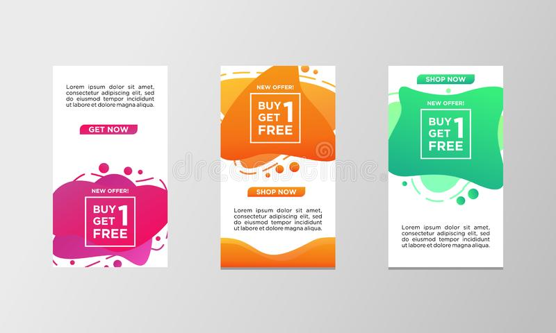 Coupon discount buy one get one free sale banner set. Modern liquid design template colorful special offer. Can use for social stock illustration
