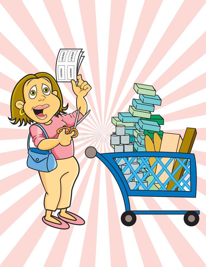 Download Coupon lady stock vector. Illustration of mother, groceries - 19480769