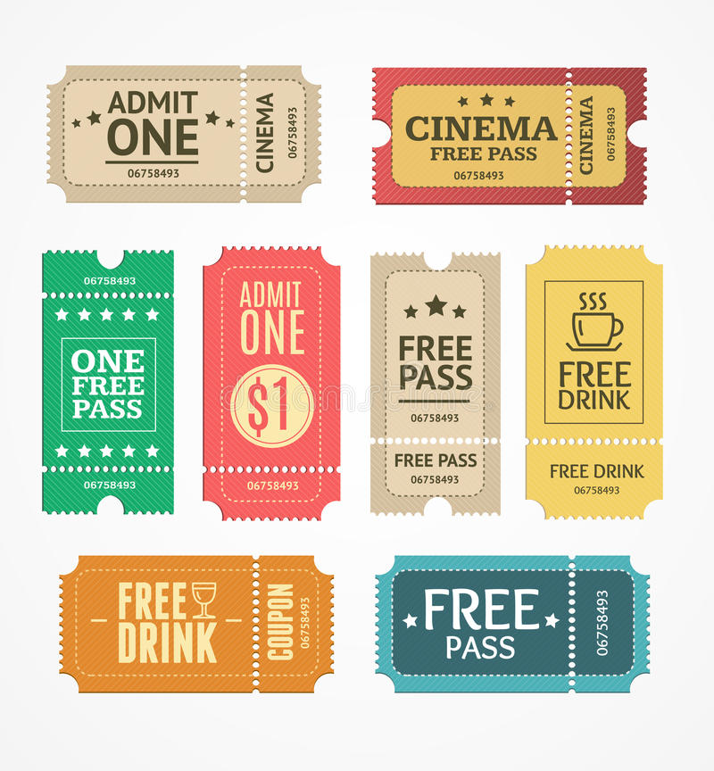 Coupon and Tickets Set. Vector vector illustration