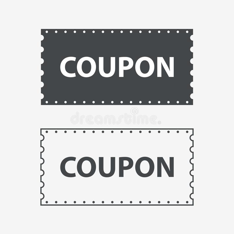 Couponpictogrammen De Kaartjeskaart van kortingscoupons Coupon voor Webontwerp vector illustratie