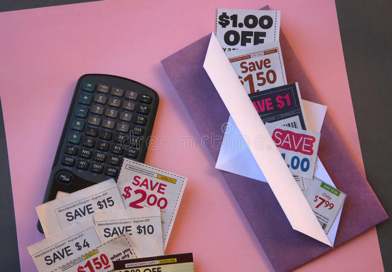 Coupons. Saving in hand made envelope and calculate royalty free stock images