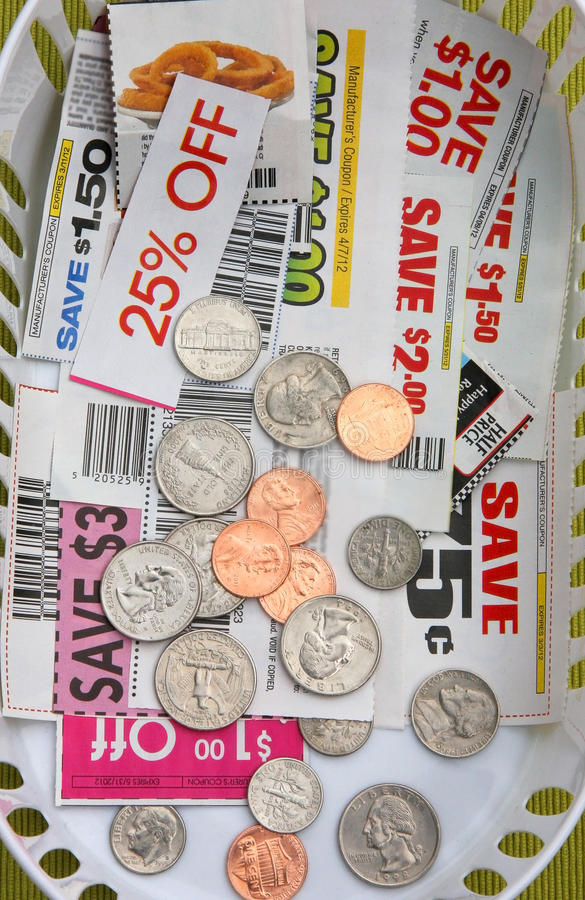 COUPONS AND COINS stock photos