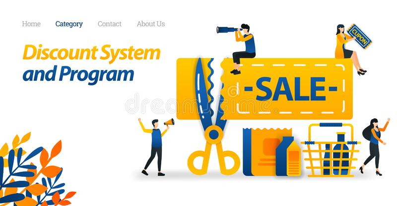 Coupons for Discount Systems and Price Cut for Certain Products. Scissors That Cut Prices. Vector Illustration, Flat Icon Style. Suitable for Web Landing Page vector illustration