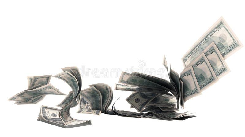 Coups de billets de banque de factures du dollar cent à partir de la pile 3d ne rendre sur le blanc aucune ombre illustration libre de droits