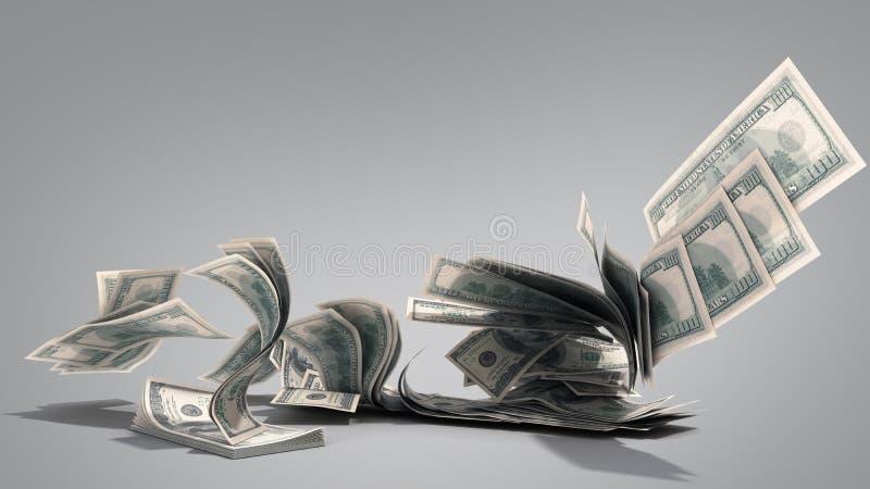 Coups de billets de banque de factures du dollar cent à partir de la pile 3d rendre sur le gris illustration libre de droits