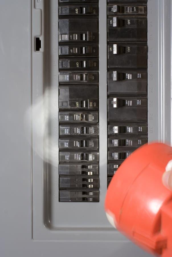 Coupure électrique à la maison de l'électricité image stock