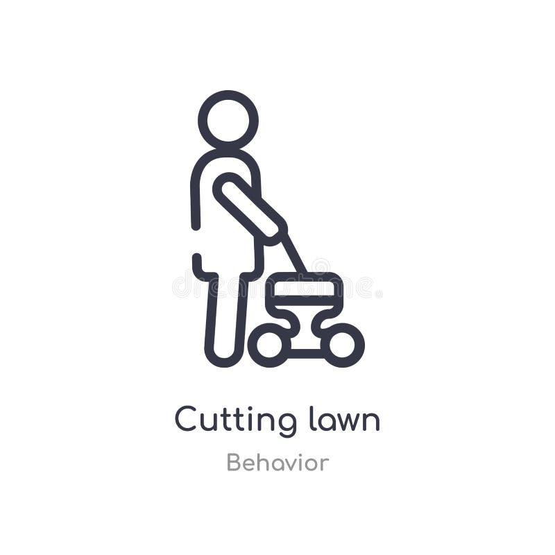 coupure de l'icône d'ensemble de pelouse r course mince editable coupant l'icône de pelouse dessus illustration libre de droits