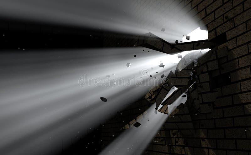 Coupure de mur et lumière photo libre de droits