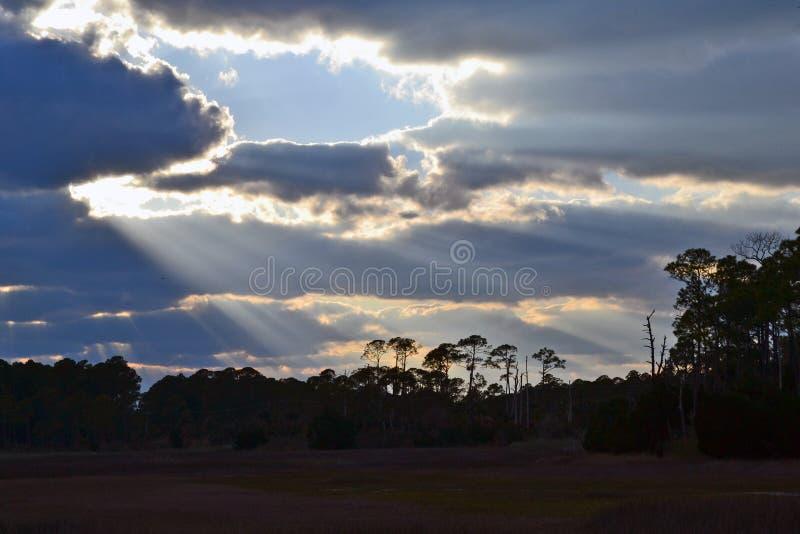 Coupures de rayons de soleil par des nuages au-dessus de forêt photo libre de droits