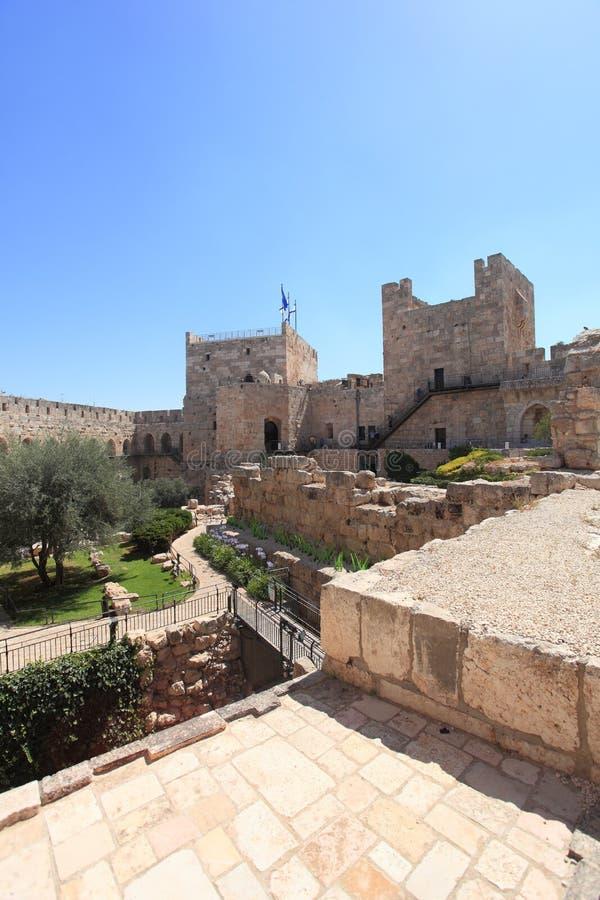 Cour archéologique de citadelle de Jérusalem image libre de droits
