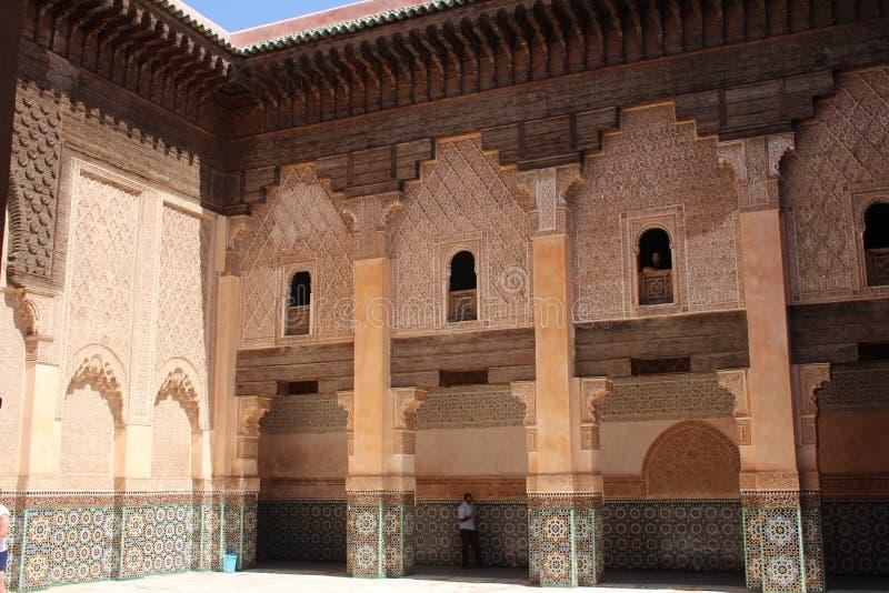 Cour d'Ali Ben Youssef Madrasa photographie stock libre de droits