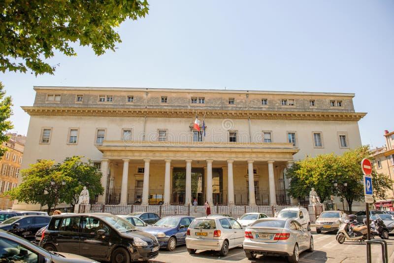 Cour d'appel艾克斯普罗旺斯正义d'Aix en普罗旺斯宫殿  库存照片