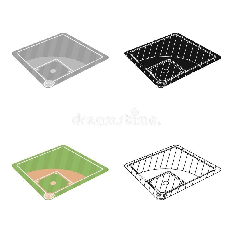 Cour de base-ball Icône simple de base-ball en Web d'illustration d'actions de symbole de vecteur de style de bande dessinée illustration libre de droits