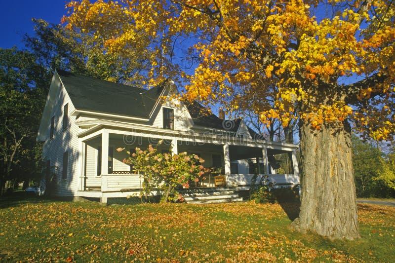 Cour de maison avec des couleurs d'automne, New Hampshire photographie stock libre de droits