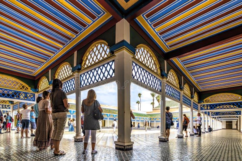 Cour de palais de Marrakech, Maroc, le 6 novembre 2016 Bahia de Marrakech image stock