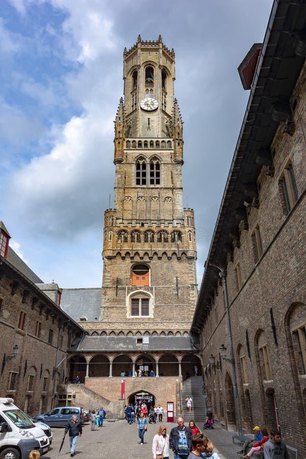 Cour de tour de Belfort, Bruges, Belgique photographie stock