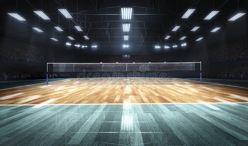 Cour de volleyball professionnelle vide dans les lumières image stock
