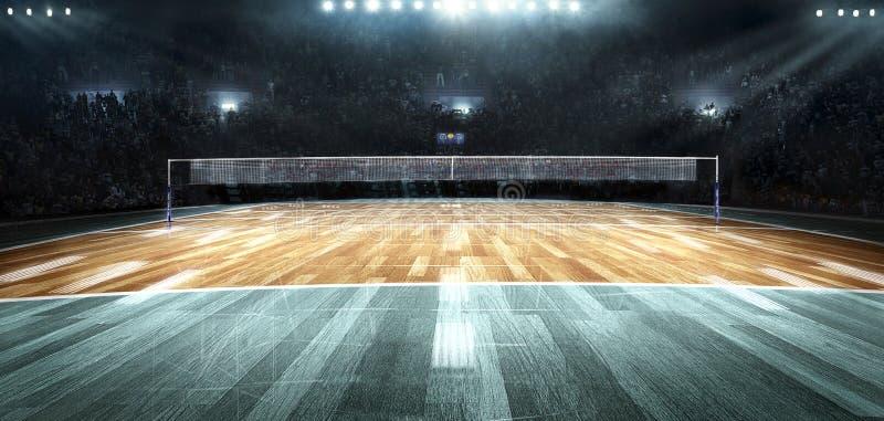 Cour de volleyball professionnelle vide dans les lumières photos stock