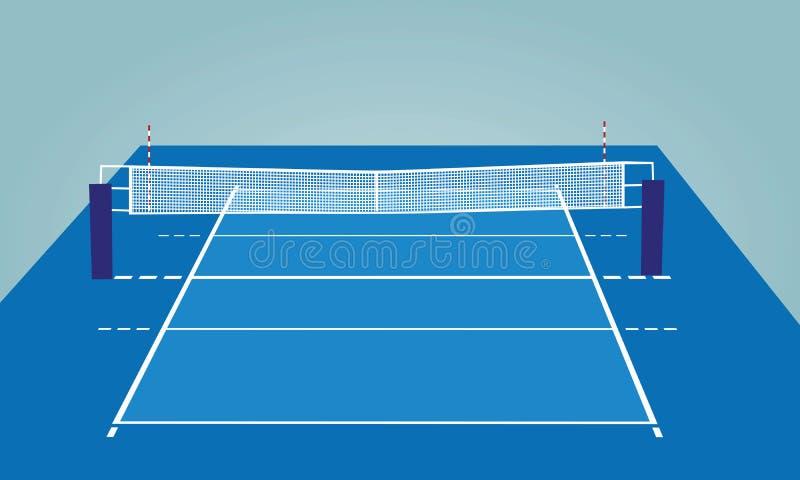Cour de volleyball Vue de point de vue illustration stock